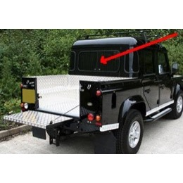 Land Rover bagrude for truck cab med skyderuder for Defender