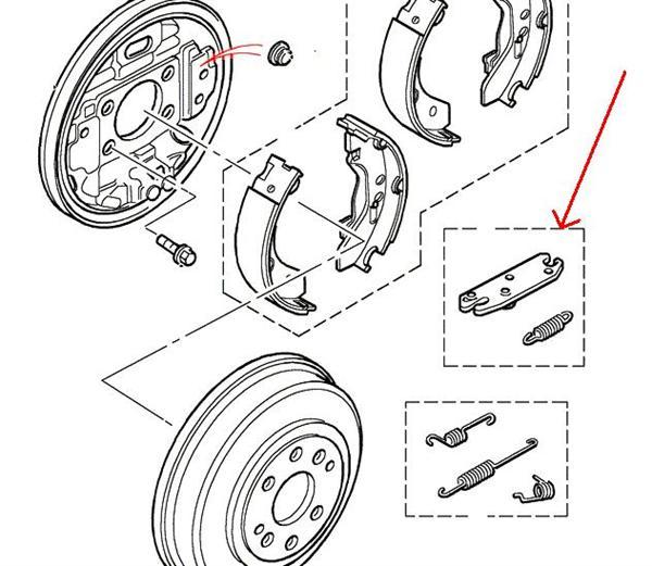 land rover bremsetromle justerings mekanisme for